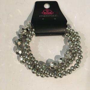 5/$25 Set of Silver Beaded Stretch Bracelet